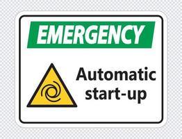 señal de arranque automático de emergencia vector