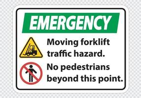 Moving forklift traffic hazard No pedestrians beyond this point vector
