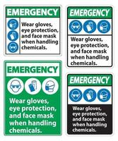 Emergency Wear Gloves Eye Protection And Face Mask Sign Isolate On White Background vector