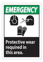 Emergency Sign Wear Protective Equipment In This Area With PPE Symbols vector