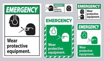 Emergency Sign Wear Protective Equipment with goggles and glasses graphics vector