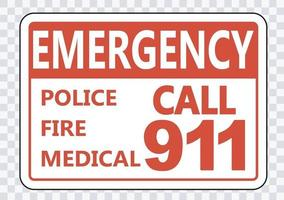 Emergency Call 911 Sign on transparent background vector