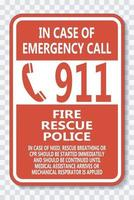 Call 911 Sign on transparent background vector