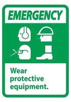 señal de emergencia use equipo de protección con ppe vector