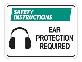 Instrucciones de seguridad requiere protección auditiva cartel de pared sobre fondo blanco. vector