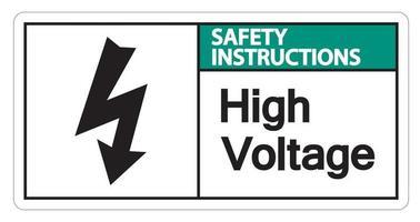 Instrucciones de seguridad señal de alto voltaje sobre fondo blanco. vector