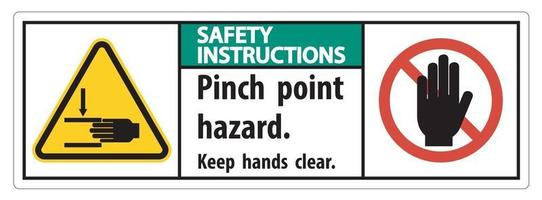 Safety Instructions Pinch Point Hazard Keep Hands Clear Symbol vector