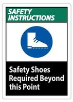 Safety Instructions Sign Safety Shoes Required Beyond This Point vector