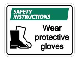 Safety instructions Wear protective footwear sign on transparent background vector
