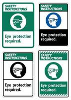 Safety Instructions Sign Eye Protection Required Symbol Isolate on White Background vector