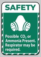 Safety Instructions PPE Sign Possible Co2 Or Ammonia Present Respirator May Be Required vector