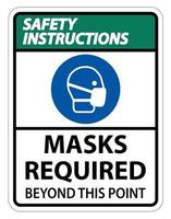 Safety Instructions Masks Required Beyond This Point Sign vector