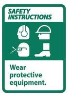 señal de instrucciones de seguridad vector
