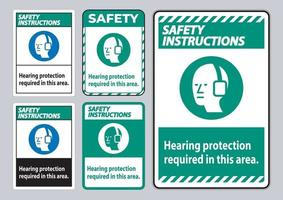 Safety Instructions PPE Sign Hearing Protection Required In This Area with Symbol vector
