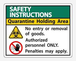 Safety Instructions Quarantine Holding Area Sign vector