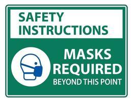 instrucciones de seguridad máscaras requeridas más allá de este punto señal vector