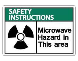 Instrucciones de seguridad señal de peligro de microondas sobre fondo blanco. vector