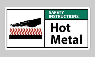 Safety Instructions Hot Metal Symbol Sign Isolated On White Background vector