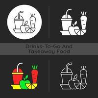 Fresh juice to go dark theme icon vector