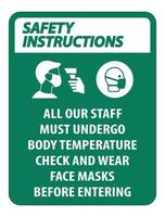 Safety Instructions Staff Must Undergo Temperature Check Sign vector