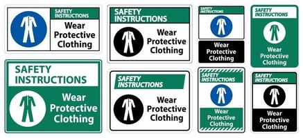 Safety Instructions Wear protective clothing sign vector