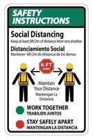Safety Instructions Bilingual Social Distancing Construction vector