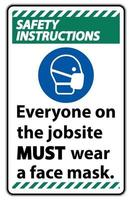 Safety Instructions Wear A Face Mask Sign Isolate On White Background vector