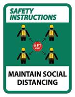 Safety Instructions Maintain social distancing stay 6ft apart sign coronavirus COVID 19 Sign vector