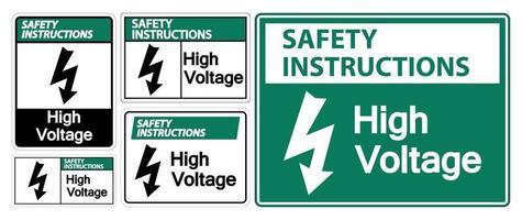 instrucciones de seguridad señal de alto voltaje vector