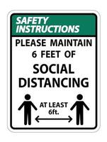 Safety Instructions For Your Safety Maintain Social Distancing vector