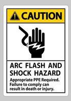 señal de precaución arco eléctrico y peligro de descarga se requiere ppe apropiado vector