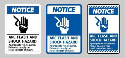 señal de aviso peligro de descarga eléctrica y arco eléctrico se requiere ppe apropiado vector