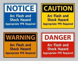 peligro de descarga eléctrica y arco eléctrico se requiere el equipo adecuado vector
