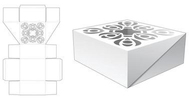caja de pastel con patrón de mandala estarcido en la plantilla troquelada superior vector