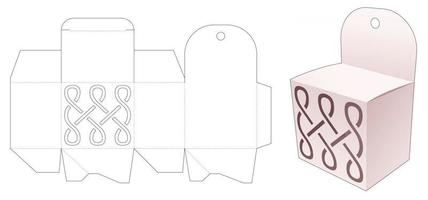 Mini box and hang hole with stenciled curve line die cut template vector