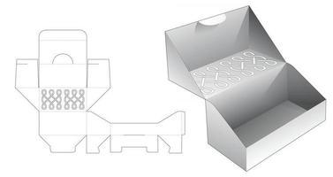 caja de pastel plegable con patrón estampado en la plantilla troquelada superior vector