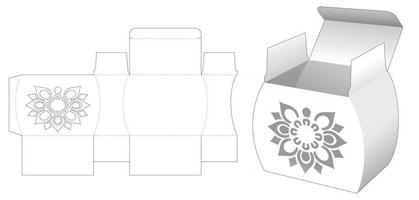 Jar shaped box with stenciled mandala pattern die cut template vector
