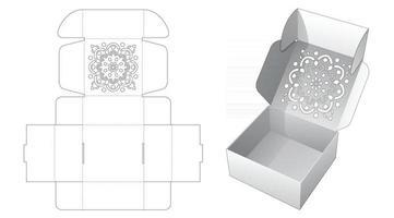 caja de pastel plegable con plantilla troquelada de patrón de mandala estarcido vector