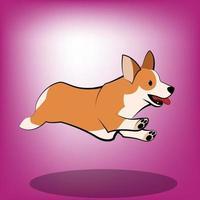 Cute Cartoon Vector Illustration of a corgi dog It is running