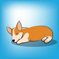 Cute Cartoon Vector Illustration of a corgi puppy dog It is sleeping