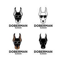set collection doberman dog head used sunglasses vector logo illustration icon design