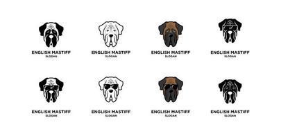 conjunto, colección, inglés, mastín, perro, cabeza, vector, logotipo, icono, ilustración, diseño vector