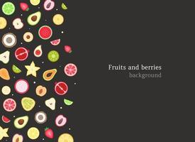 Fruits and berries background vector