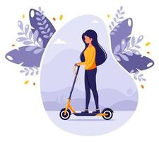 Woman riding electric kick scooter on city background vector