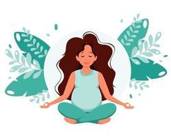 Pregnant woman meditating in lotus pose Pregnancy health concept Vector illustration