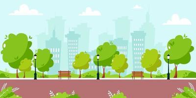 Summer city park cityscape concept vector