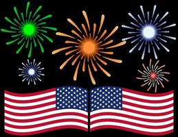Fourth of July Fireworks Background vector