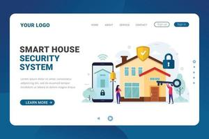 Landing page template smart house security system vector illustration