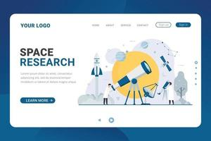 Landing page template Astronomy flat tiny people space research vector