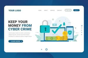 Landing page template money security system service vector illustration